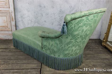 damask chaise longue chaise longue in pale green damask at 1stdibs