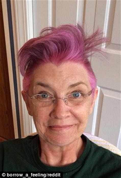 hair colour 62 year old woman mother with breast cancer shaves her hair into a bright