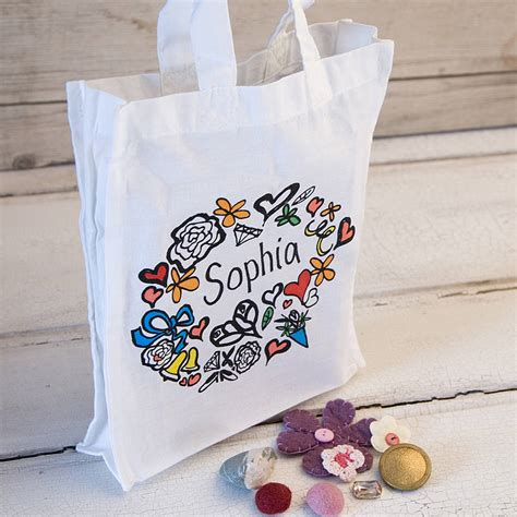 girl s personalised tote gift bag by solographic art