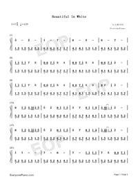 beautiful in white chord beautiful in white westlife free piano sheet music piano