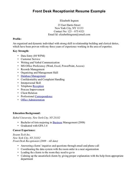 resume receptionist sample resume hotel receptionist examples