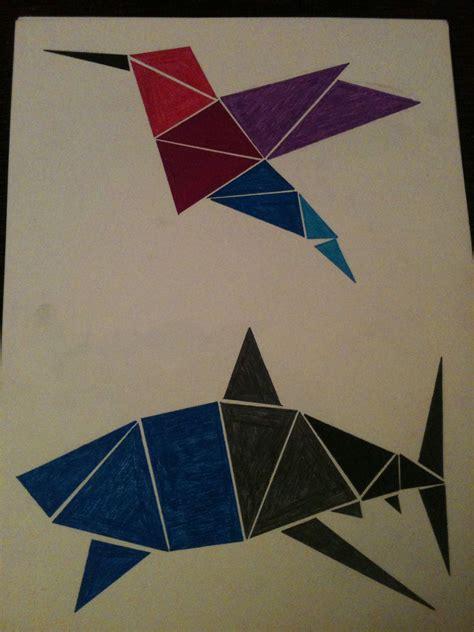 figuras geometricas triangulo animales hechos con figuras geom 233 tricas colibr 237 esta