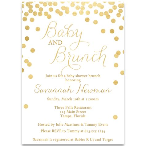 Baby Shower Invi by Baby And Brunch Gold Shower Invi On Baby Shower Invitation