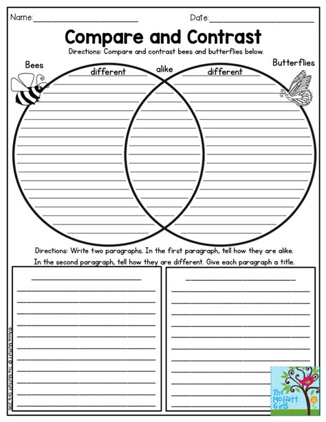 Compare And Contrast Worksheets 5th Grade by Compare And Contrast Bees And Butterflies Such A