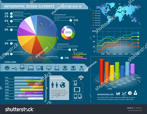 global map vector colorful infographic elements global map information stock