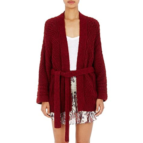 cable knit belted cardigan 201 toile marant cable knit belted floyd cardigan in