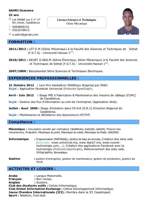 Modele Cv Informatique Word by Exemple Cv Francais Informatique Diy And Crafts