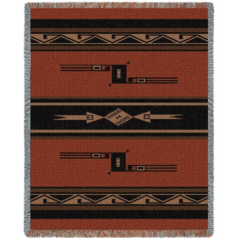Southwest Rugs And Blankets by Southwest Geometric Black And Russet Blanket