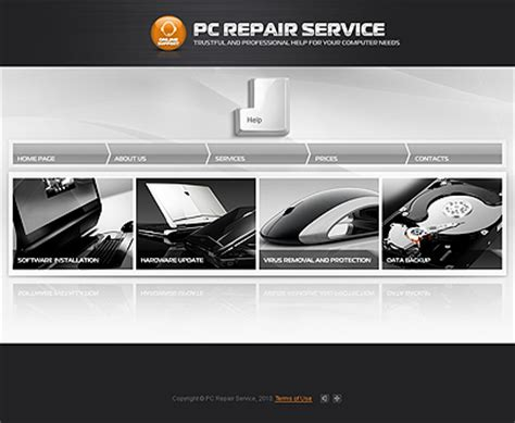 free computer website templates pc repair services website template for free
