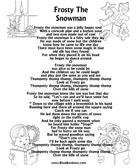 Frosty Snowman Lyrics Printable Version   pinterest the world s catalog of ideas