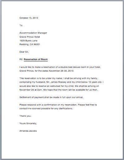 sample hotel reservation letter sample letters