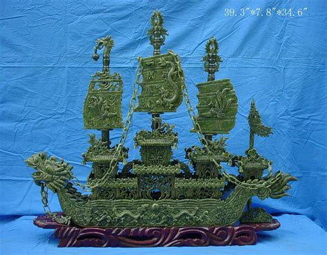 jade dragon boat carving jade dragon boat carving handmade in china bj100a