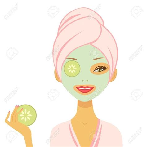 html format mask young woman applying cucumber mask vector format royalty