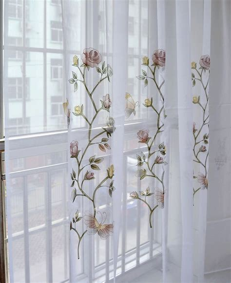 butterfly embroidered kitchen curtain finished products