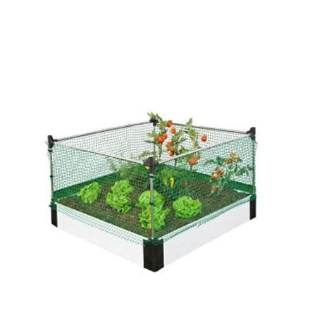 Frame It All Raised Garden Bed Frame It All 4 Ft X 4 Ft X 8 In Classic White Raised Garden Bed With Small Animal Barrier