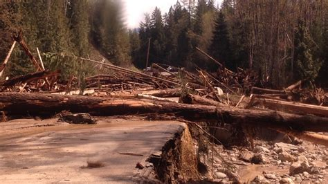 shuswap river log jam  flooding downs power lines