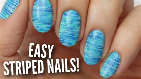 easy clean up nail art easy striped nail art youtube