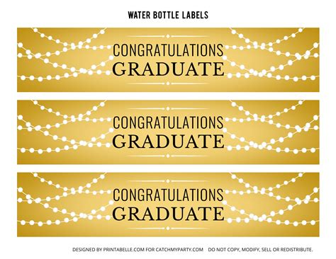 printable graduation labels free gold graduation printables catch my party