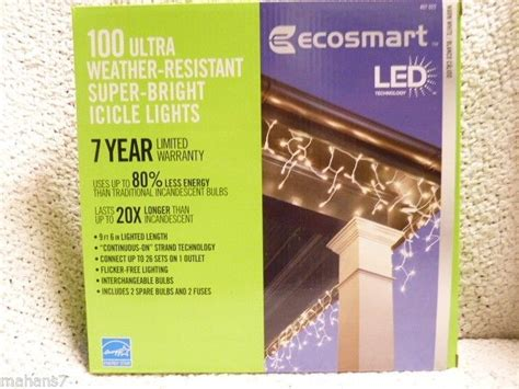 100 light led warm white icicle light set ecosmart 100 light led warm white icicle light set 701216