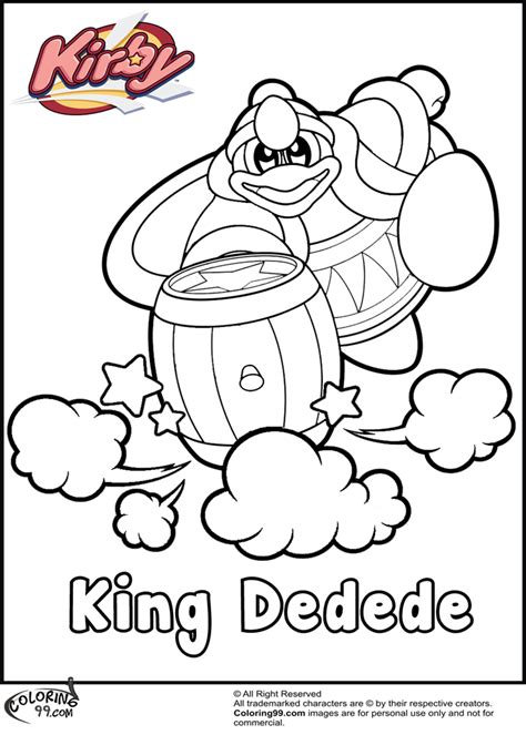 king dedede coloring page free pokemon kirby coloring pages