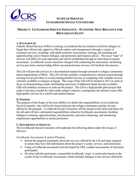 template for scope of work scope of work template in word and pdf formats