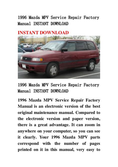 service repair manual free download 1998 mazda mpv electronic valve timing 1996 mazda mpv service repair factory manual instant download
