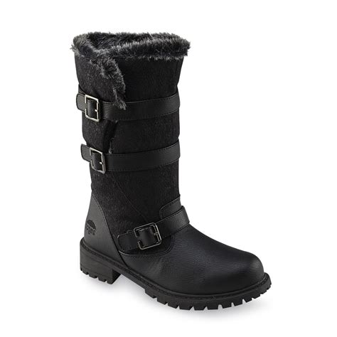 sears boots totes s fargo black faux fur mid calf winter snow boot