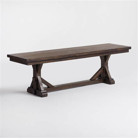 wooden bench dining rustic brown wood brooklynn dining bench world market