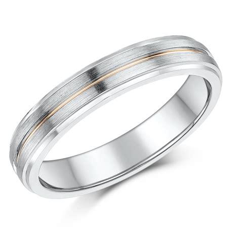 4mm Silver 9ct Gold Matt Polished Wedding Ring