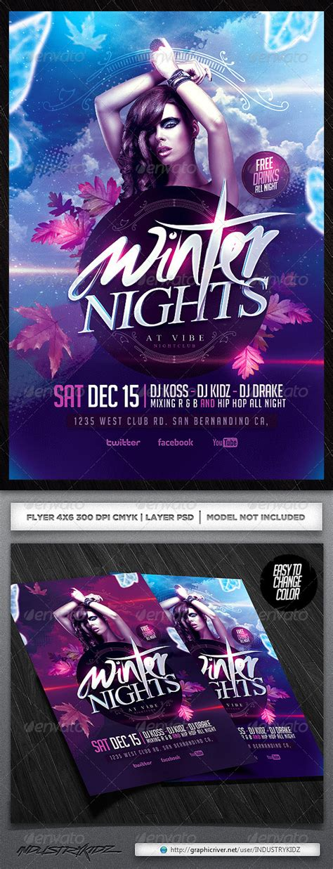 dafont unfolding tragedy winter party psd flyer graphicriver