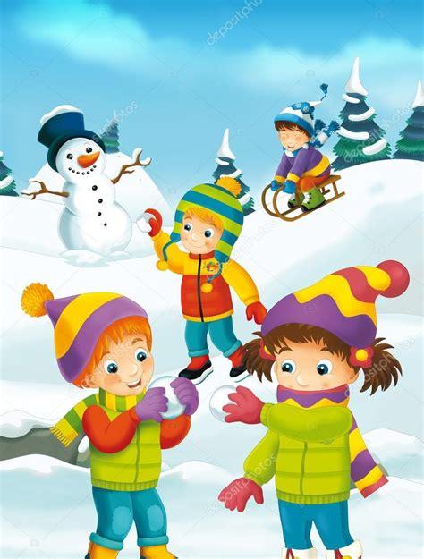imagenes infantiles invierno dibujos animados de invierno con los ni 241 os foto de stock