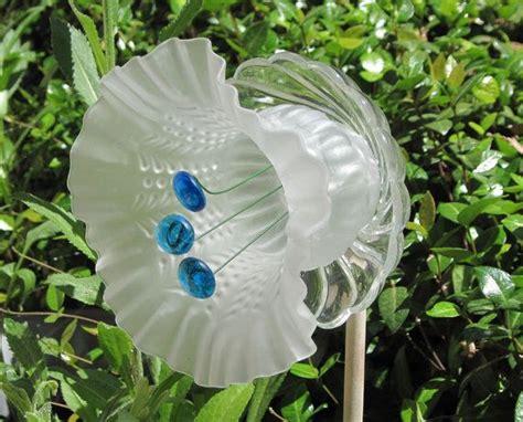 Frosted Blue Trumpet Glass Flower Plate Garden Art Glass Garden Flowers