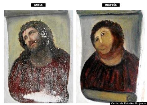 Jesus Painting Restoration Meme - elderly woman s hilarious failed attempt at restoring a