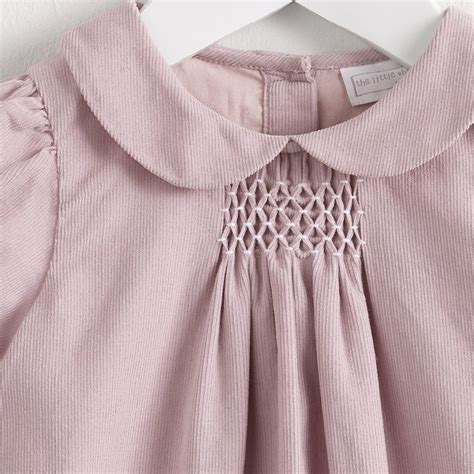 pattern matching babel smocked pink corduroy dress the white company heirloom