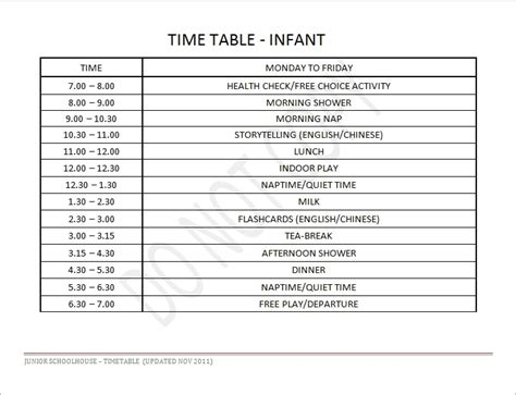 Daily Baby Schedules Infant Daily Schedule Junior Schoolhouse