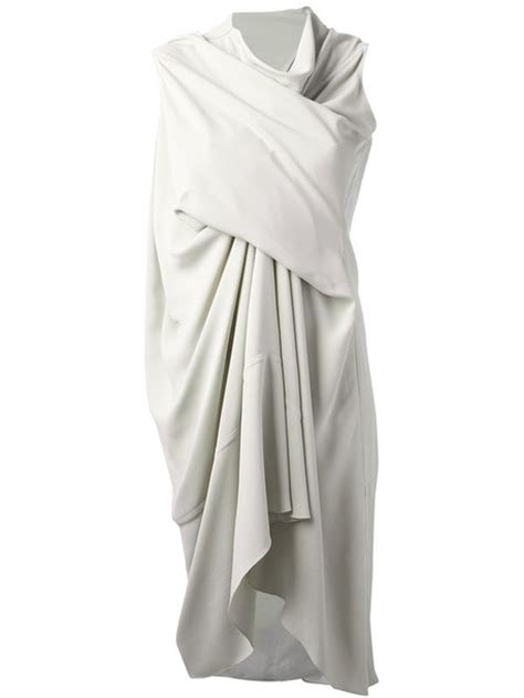 rick owens draped dress dress rick owens draped dress white dress wheretoget