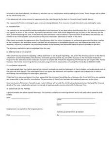 contingency agreement template contingent fee agreement free
