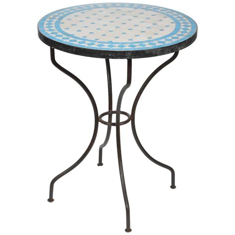 Tile Bistro Table Moroccan Mosaic Blue Tile Bistro Table On Iron Base For Sale At 1stdibs