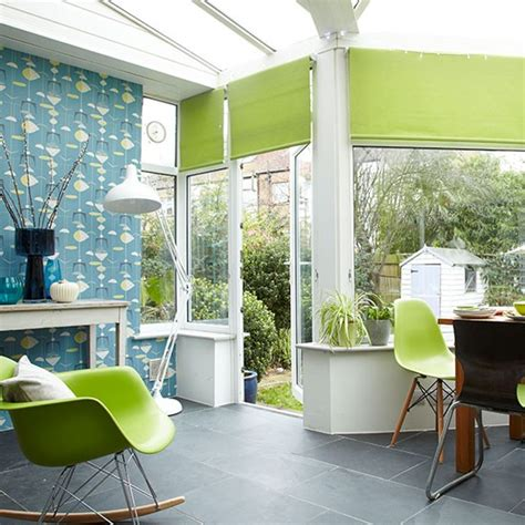 teal and lime living room conservatory with teal wallpaper conservatory decorating housetohome co uk