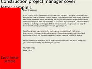 Cover Letter For Construction Management by Construction Project Manager Cover Letter