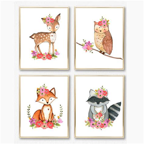 free printable wall art set girl woodland nursery print set girl wall art baby girl