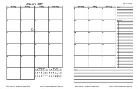 page monthly planner template  excel    printed     normal  ring