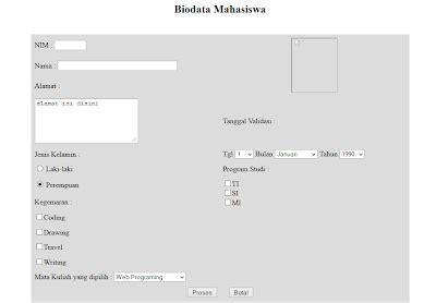 membuat biodata menggunakan html project d membuat form biodata menggunakan html