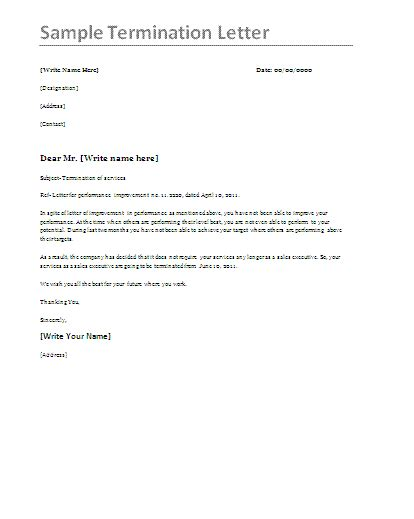 Termination Letter Template At Will Vendor Termination Letter Termination Letters Design Bild
