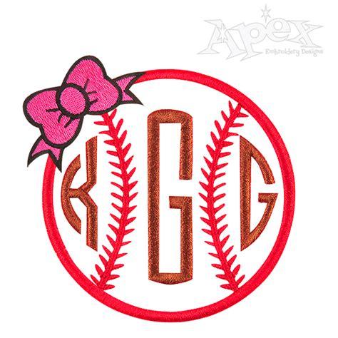 Home Design 3d Exe by Baseball Bow Softball Embroidery Monogram Frame