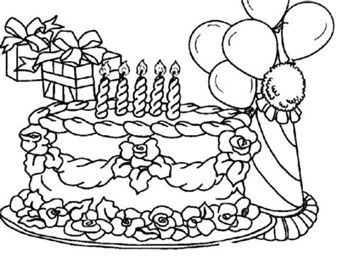 coloring pictures of birthday cakes and balloons birthday balloons and cake coloring page coloring pages
