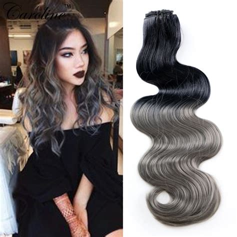 can ypu safely bodywave grey hair 8pcs lot 20inch ombre body wave synthetic hair extensions