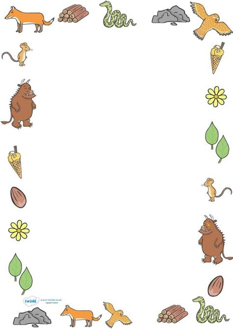 design a photo frame ks1 twinkl resources gt gt the gruffalo full page borders