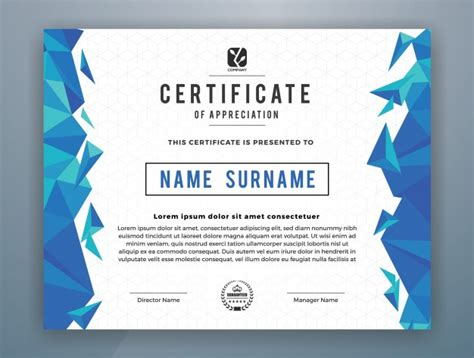 certificate template design vector free download multipurpose modern professional certificate template
