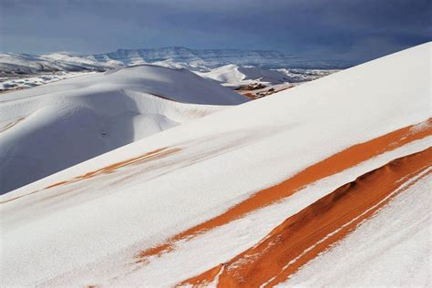 sahara snowfall rare snow covers the sahara desert in algeria second